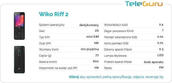 specyfikacja Wiko Riff 2