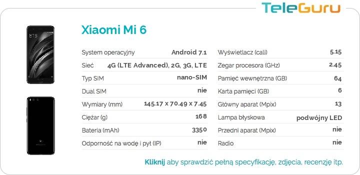 specyfikacja Xiaomi Mi 6