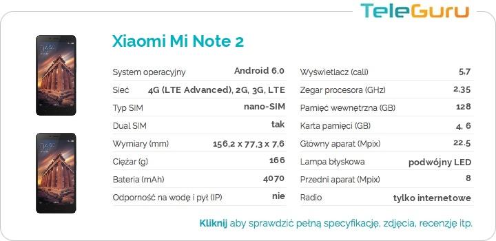 specyfikacja Xiaomi Mi Note 2