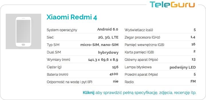 specyfikacja Xiaomi Redmi 4